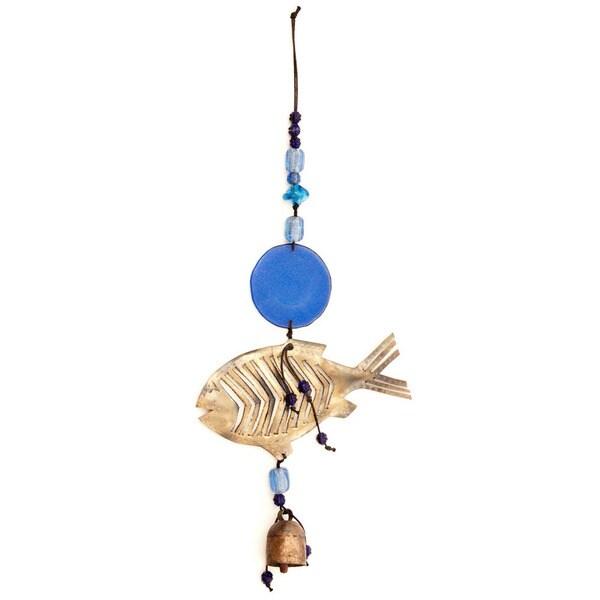 Handmade Blue Fish 3-D Wind Chime (India)