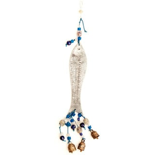 Handmade Silver Fish 3-D Wind Chime (India)