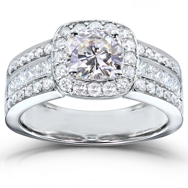 Annello 14k White Gold Cushion-cut Moissanite and 1ct TDW Diamond Engagement Ring (H-I, I1-I2)