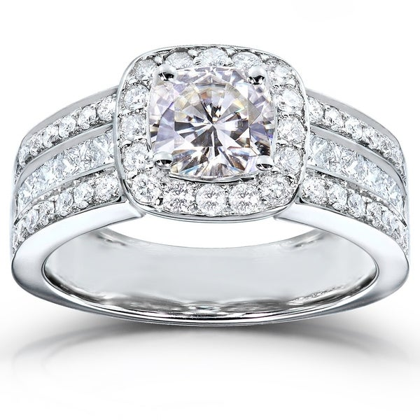 Annello by Kobelli 14k White Gold 2 1/10ct TGW Cushion Moissanite (HI) and Diamond Wide Multi-Row Engagement Ring