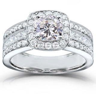Annello by Kobelli 14k White Gold Cushion-cut Moissanite and 1ct TDW Diamond Engagement Ring