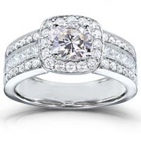 Annello by Kobelli 14k White Gold 2 1/10ct TGW Cushion Moissanite and Diamond Wide Multi-Row Engagement Ring