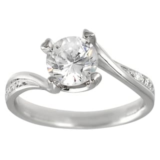 Journee Collection Sterling Silver Pave-set Round-cut CZ Bridal-style Ring
