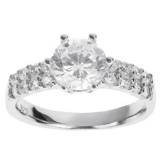 Journee Collection Sterling Silver Round-cut White CZ Bridal-style Ring