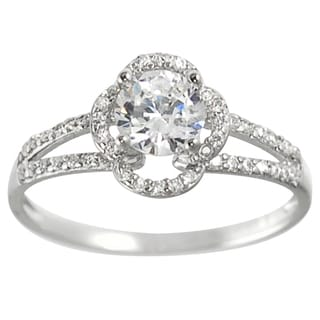 Journee Collection Sterling Silver Round-cut CZ Bridal-style Ring