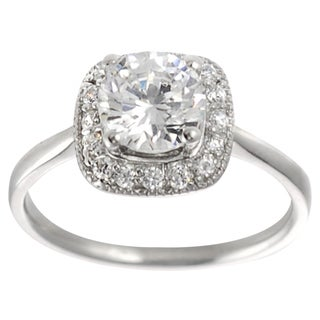 Journee Collection Sterling Silver Round-cut CZ Traditional Bridal-style Ring