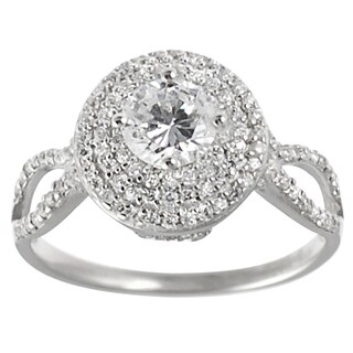 Journee Collection Sterling Silver Basket-set Round-cut CZ Bridal-style Ring