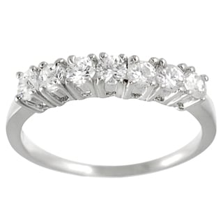 Journee Collection Highly Polished Sterling Silver Round-cut CZ Bridal-style Ring