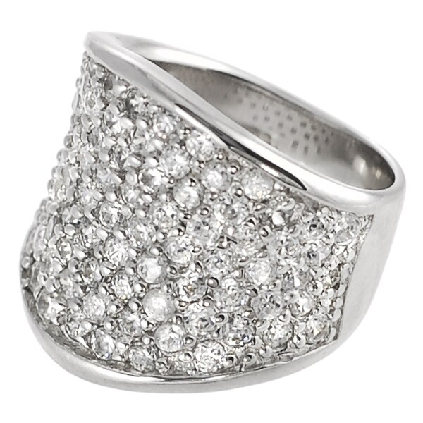 Journee Collection Sterling Silver CZ Pave Ring