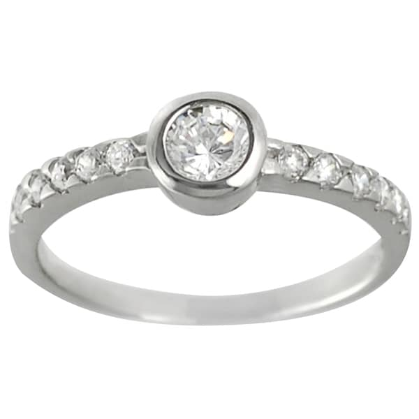 Journee Collection Sterling Silver Round CZ Bridal-style Ring