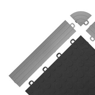 BlockTile UV-resistant Interlocking Ramp Edges without Loops - (12 Edges/2 Corner pack) (Option: Grey)
