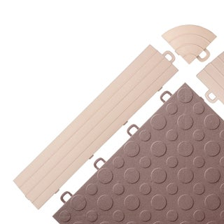 BlockTile UV-resistant Interlocking Ramp Edges without Loops - (12 Edges/2 Corner pack) (Option: Beige)