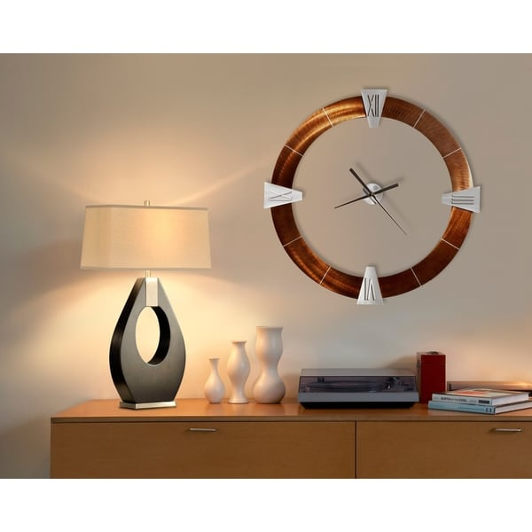 30 in. H x 17 in. W Modern Wood Table Lamp with Tan Linen Shade