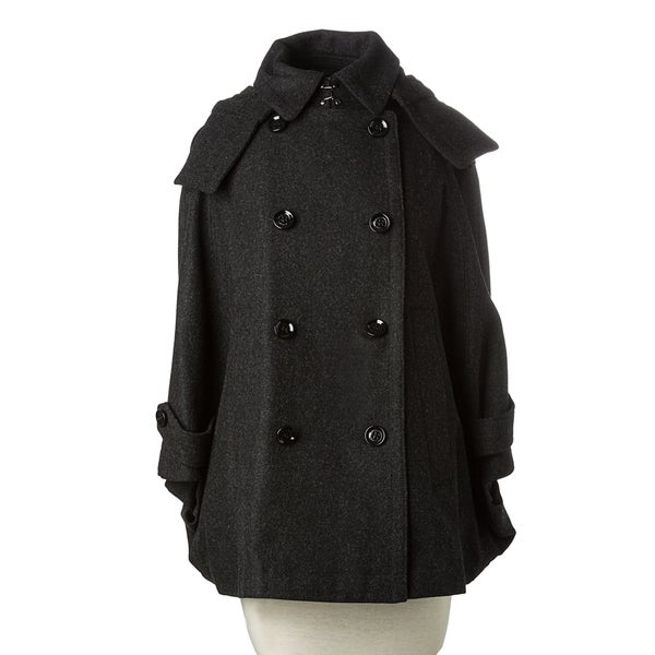 Burberry Brit Women's Charcoal Wool-blend Cropped Swing Coat