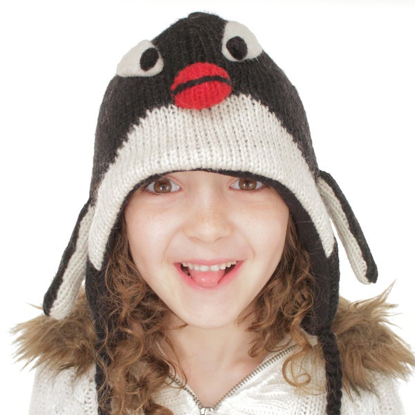 Kids' Wool Fleece-lined Penguin Hat