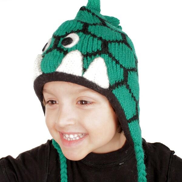 Children's Hand-knit Wool Fleece-lined Dino Beanie Hat