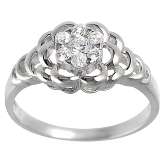 Journee Collection Sterling Silver CZ Bridal-style Flower Ring