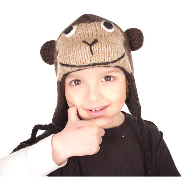 Hand-knit Wool Fleece-lined Monkey Hat