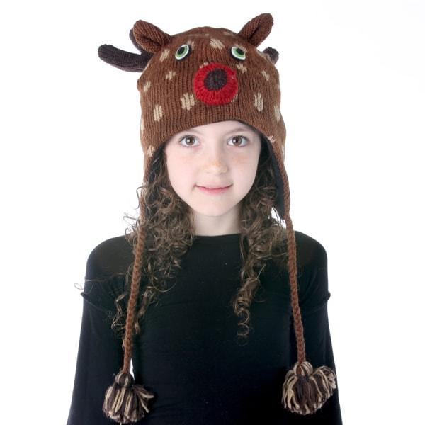 Kids' Hand-Knit Wool Fleece-lined Deer Hat