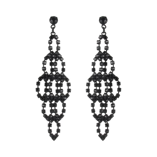 Roman Black-plated Faceted Black Crystal Marquise Dangle Earrings