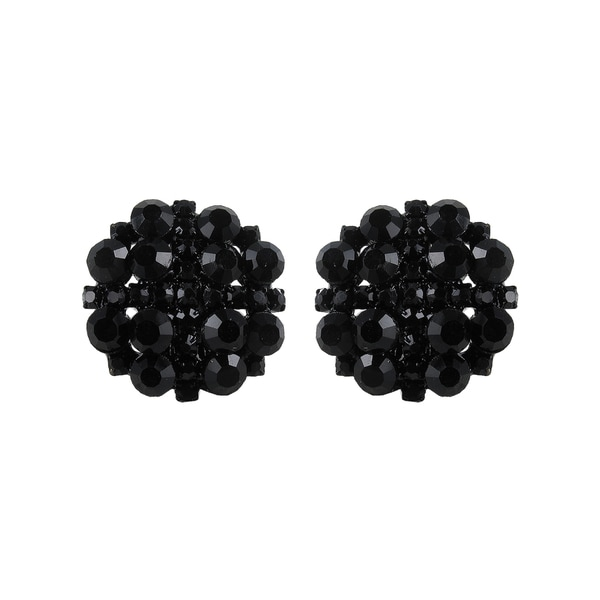 Roman Black-plated Faceted Black Crystal Clip-on Stud Earrings