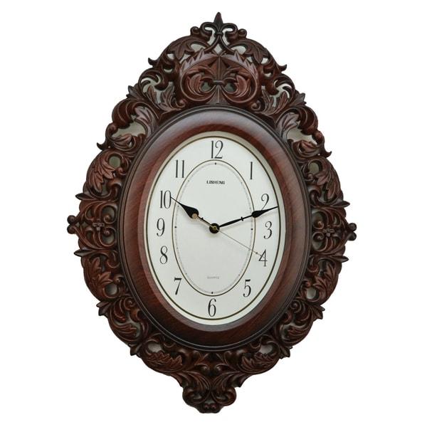 Fabulous Antique Linseng Brown Polyresin Wall Clock (27x19)