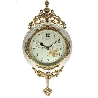 Fabulous Antique Linseng Wooden Pendulum Ivory Wall Clock ( 24x15)