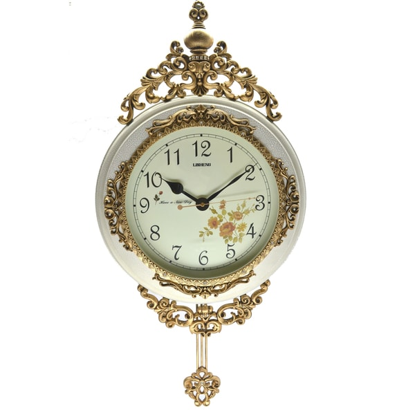 Fabulous Antique Linseng Wooden Pendulum Ivory Wall Clock ( 24x15)