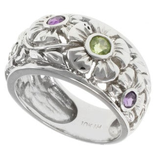 Michael Valitutti 10k Gold Amethyst and Peridot Ring