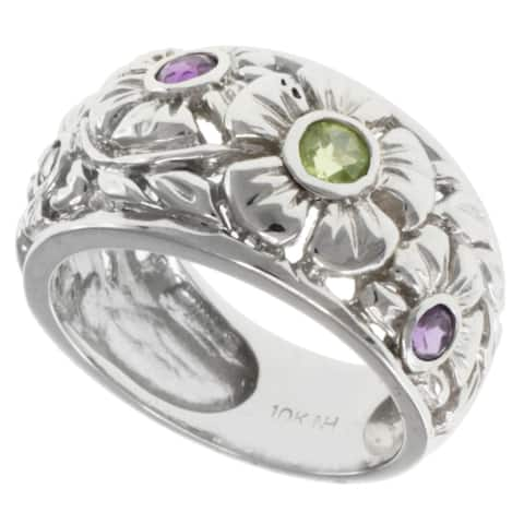 Gems en Vogue 10k Gold Amethyst and Peridot Ring