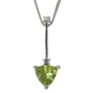 Michael Valitutti 14k White Gold Peridot and Diamond Necklace