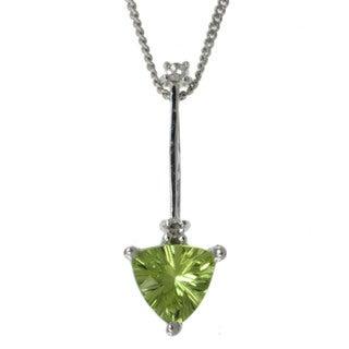 Michael Valitutti 14k White Gold Peridot and Diamond Necklace