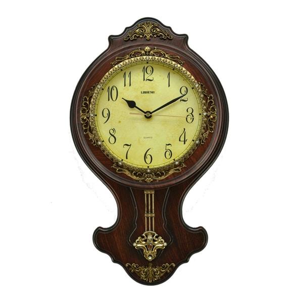Fabulous Antique Linseng Polyresin Pendulum Wall Clock (21x12)