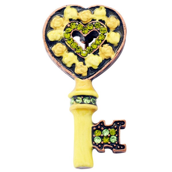 Rosetone Crystal Yellow Rose Heart Key Brooch