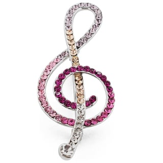 Silvertone Multi-colored Crystal Music Note Brooch