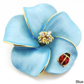 Goldtone Crystal Hawaiian Plumeria Flower and Ladybug Brooch
