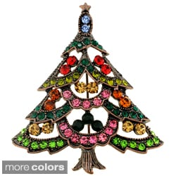 Goldtone Multicolored Austrian Crystal Christmas Tree Brooch