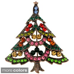 Goldtone Multicolored Austrian Crystal Christmas Tree Brooch