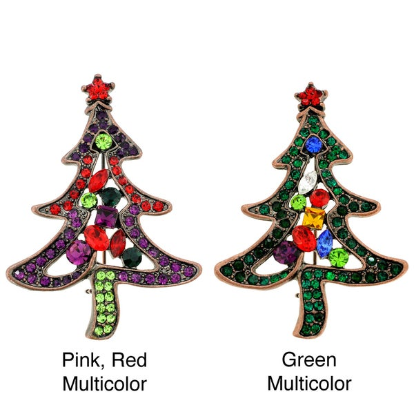 Goldtone Multi-colored Crystal Christmas Tree Brooch