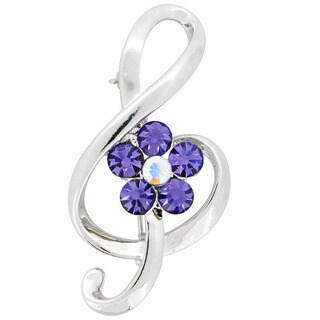 Silvertone Purple and White Crystal Music Note Brooch