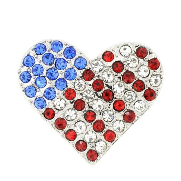 Silvertone Multi-colored Crystal American Flag Heart Brooch
