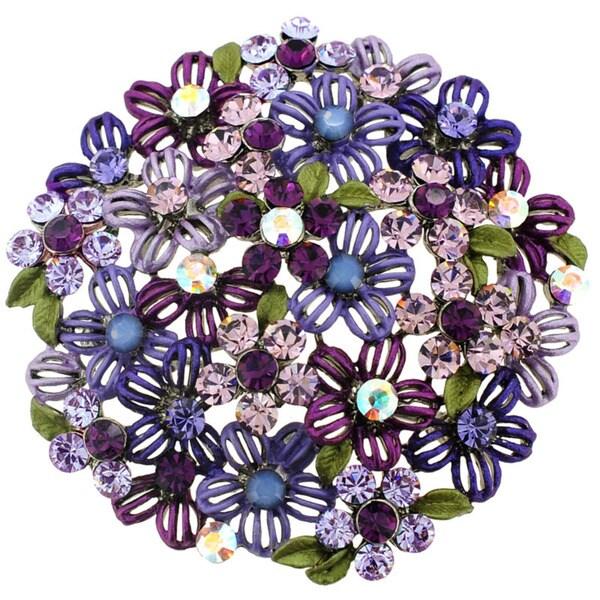 Silvertone Crystal Purple Flower Cluster Brooch