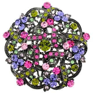 Silvertone Multicolored Round-Cut Crystal Flower Bridal Brooch