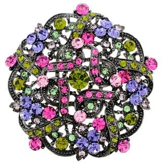 Silvertone Multicolored Round-Cut Crystal Flower Bridal Brooch