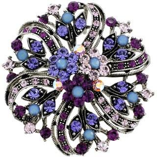 Silvertone Multi-colored Crystal Flower Bridal Brooch