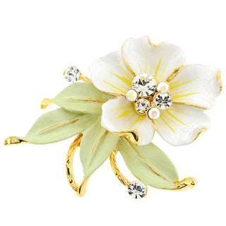Goldtone Clear Crystal White Flower and Green Leaf Brooch