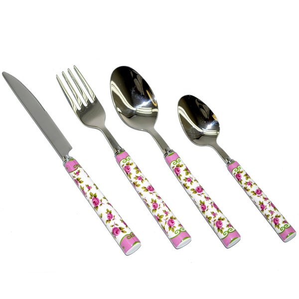 Fabulous Threestar Pink Floral 24-piece Stainless Steel Flatware Set