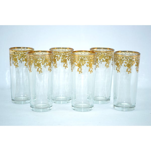 Threestar 14 Karat Gold Finish Hi-Ball Glasses (Set of 6)