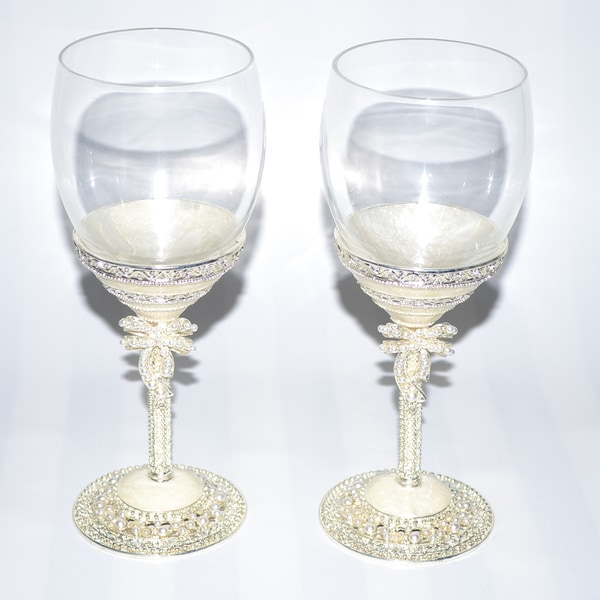 Pearl White Bow Italian 2-piece Wine Glass Set