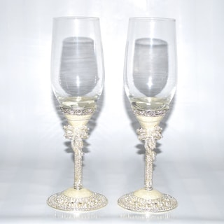 Pearl White Italian 2-piece Champagne Glasses Set